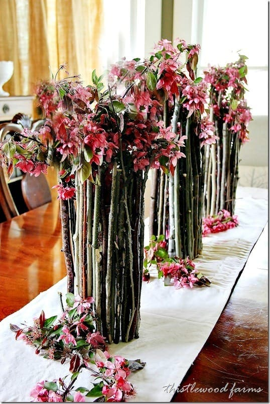 Gorgeous wood stick centerpieces