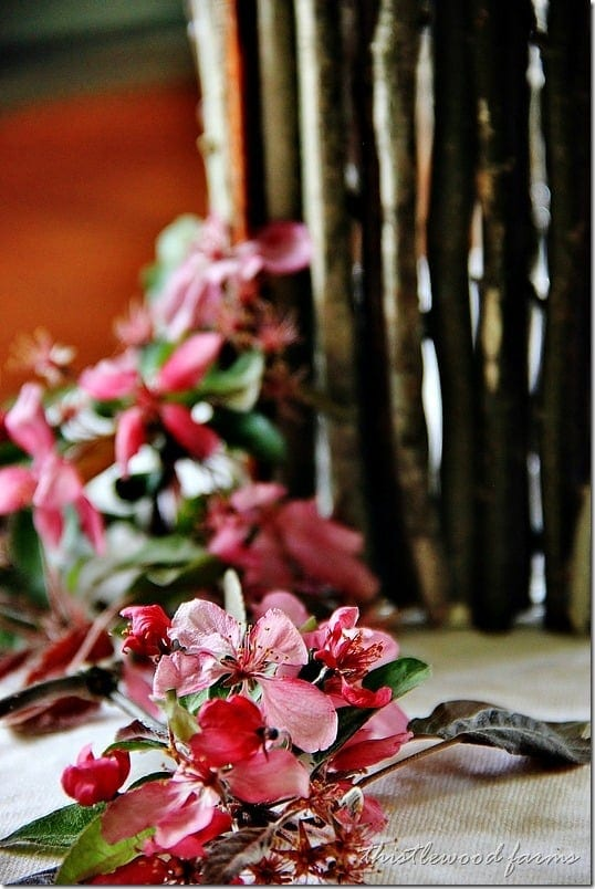 Wood stick flowers in a vase