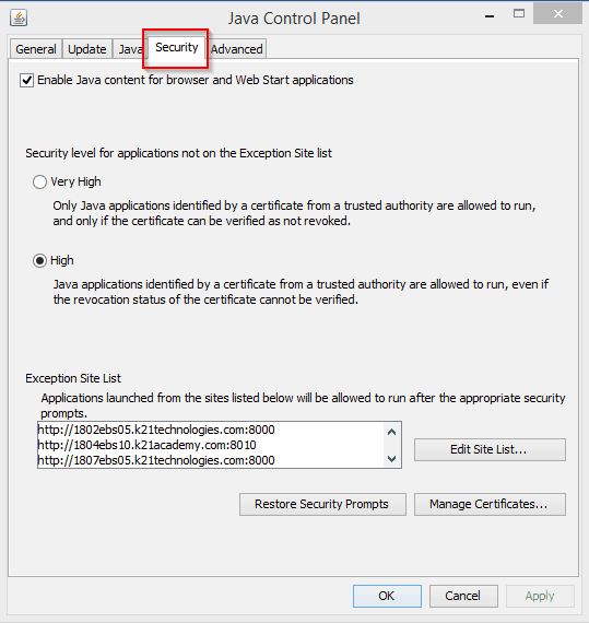 Security Tab in Java control panel