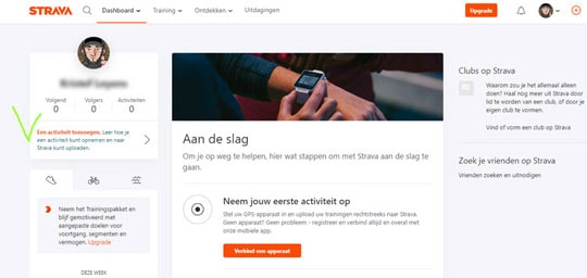 Log in op het Dashboard--Strava