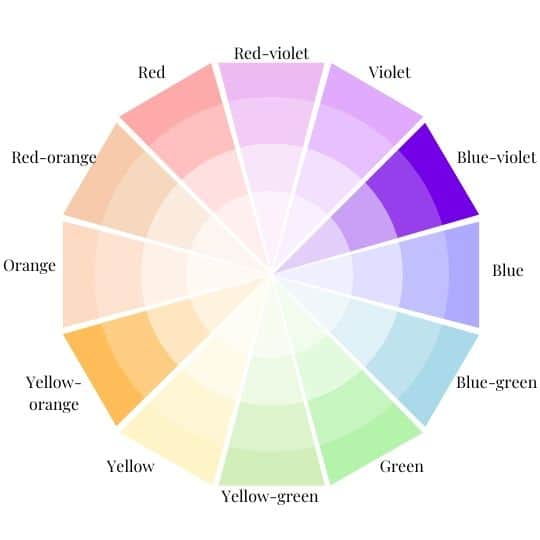 Color Wheel with Yellow-orange and blue-violet Highlighted