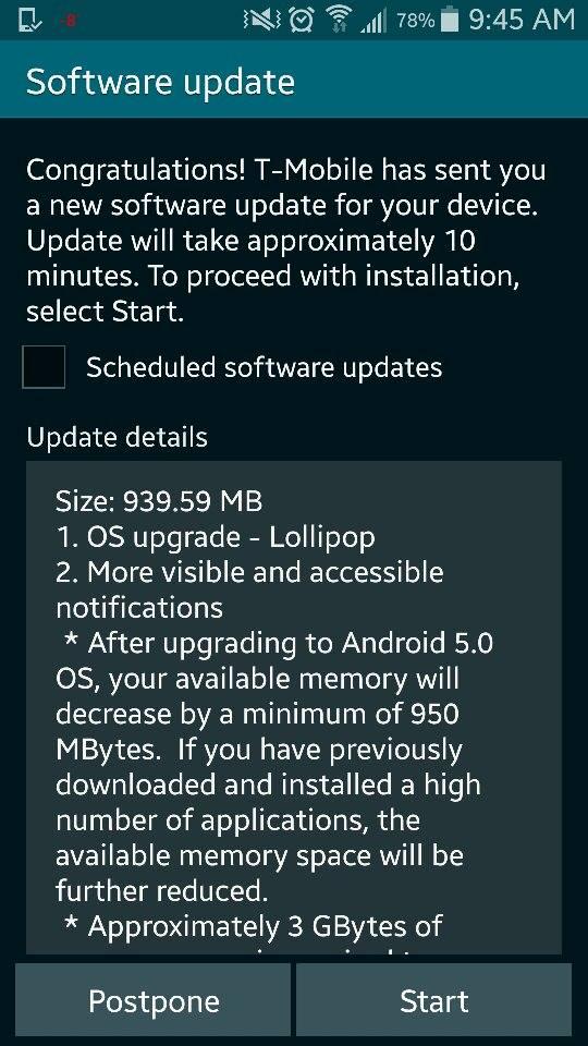 T-Mobile Lollipop update notification on Galaxy S5