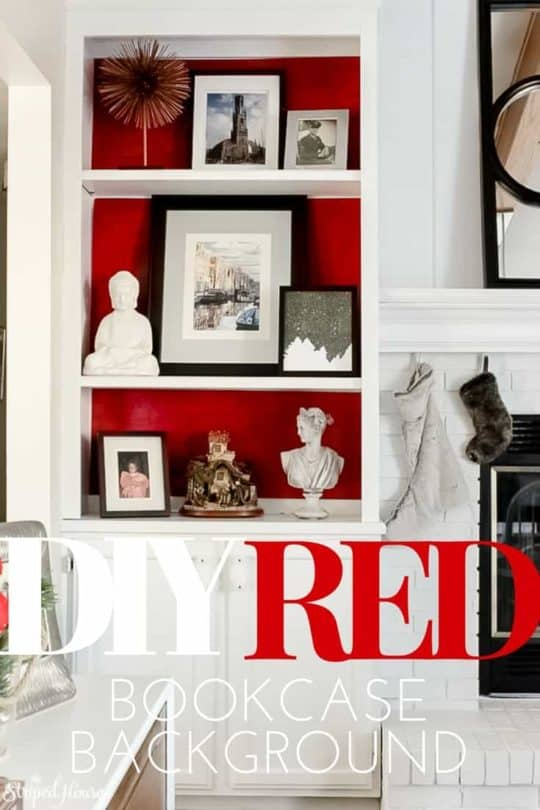 DIY RED BOOKCASE BACKGROUND