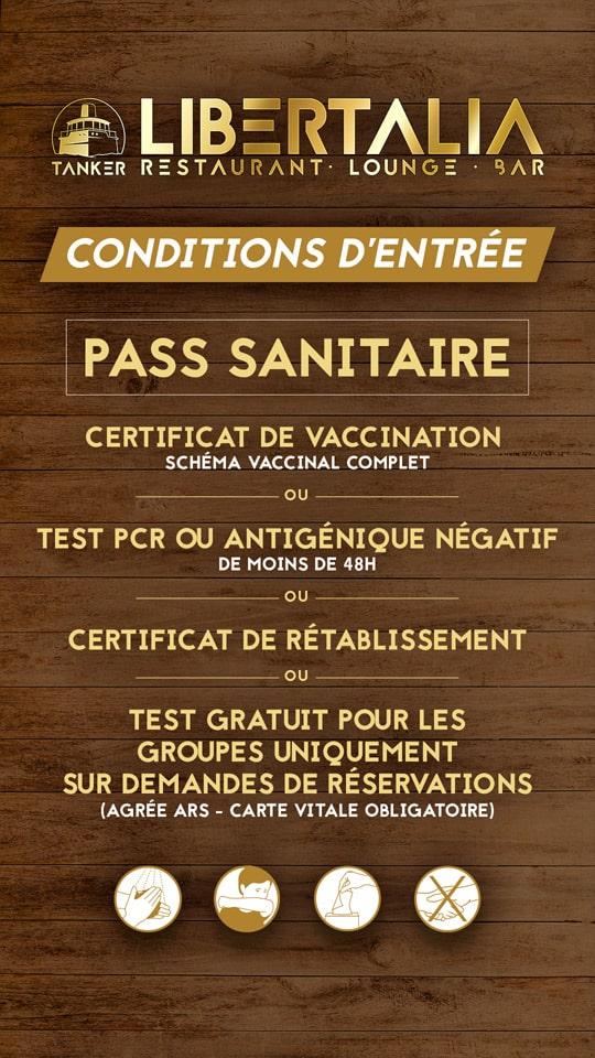 Conditions d'entrée PASS SANITAIRE