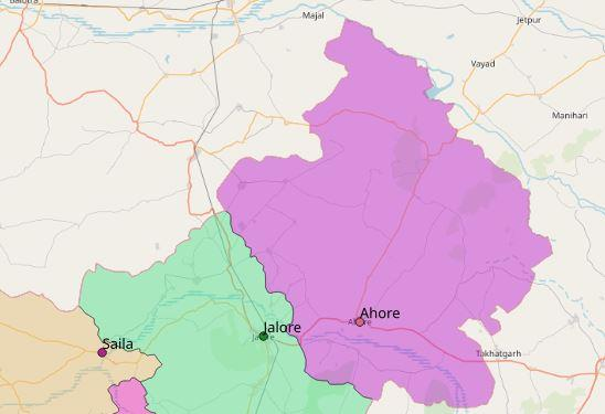 Map of Ahore City in Jalore
