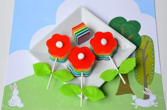 Cookies & Clogs Spring Bloomin' Gelatin Pops Rainbow Jello Recipe & Tutorial https://whynotmom.com.cookiesandclogs.com/bloomin-gelatin-pops-jello-recipe/