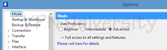Vuze user mode settings menu (advanced)