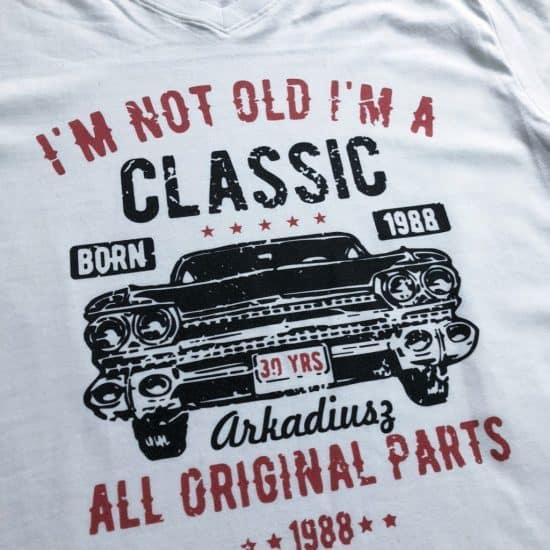 nadruk na koszulce na prezent samochod