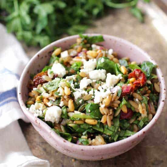Spinach and Orzo Salad | One Dish Kitchen