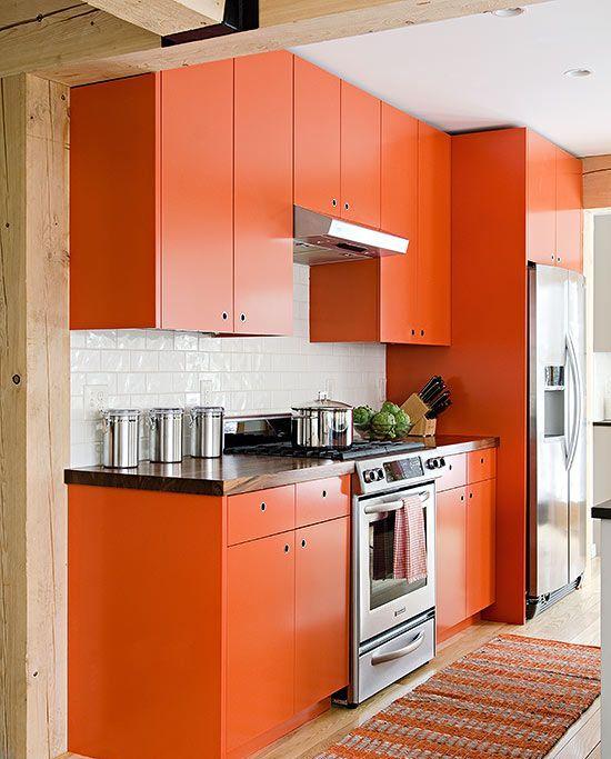 сочетание цветов в интерьере с оранжевой кухней