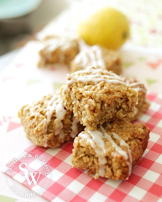 rich and goey lemon flapjacks with ginger perfect party food