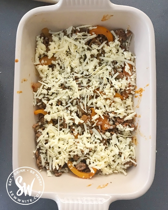 Cheese layer in the Fajita Traybake Mexican Lasagne