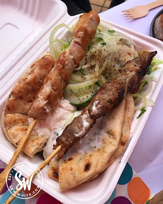 Little Greece Wimbledon souvlaki with chicken and pork