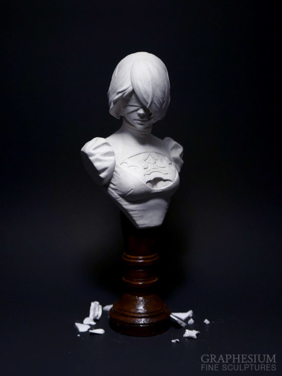 Custom handmade stone Yorha 2B / ヨルハ2号B型 (Nier: Automata) sculpture / statue / figure by Graphesium (gsculpt)