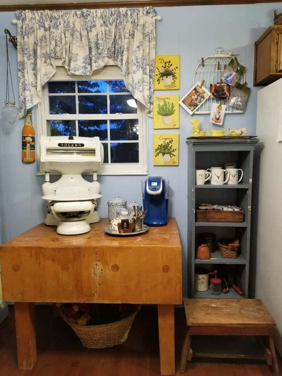 kitchen furniture, butcher block tables, meat scales, hot chocolate station