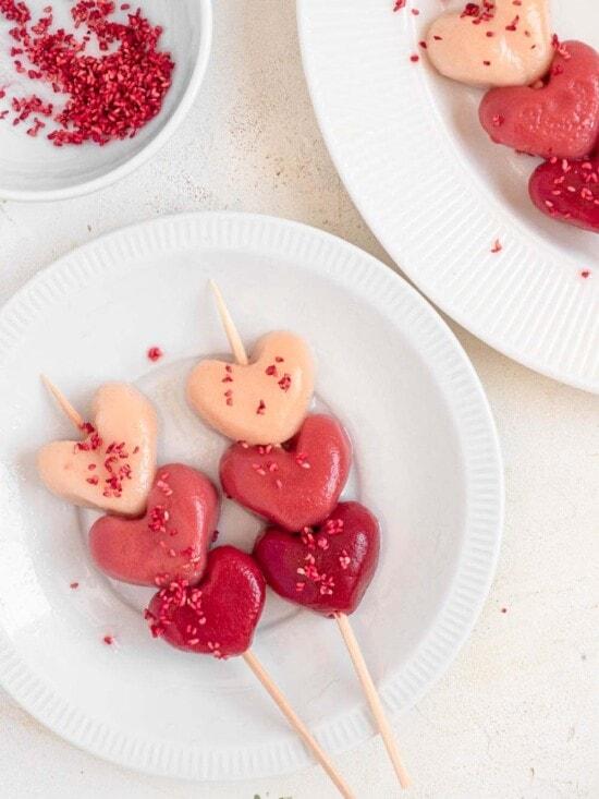 Heart shaped raspberry and strawberry Hanami dango mochi
