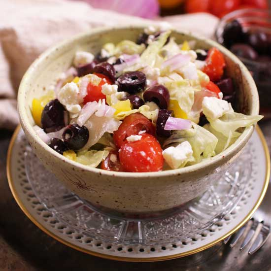 greek salad for one | one dish kitchen