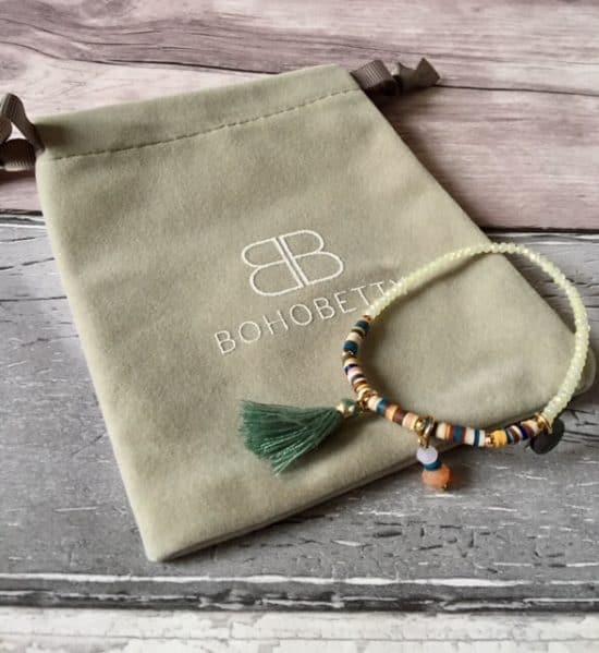Kari White Crystal Beaded Stretch bracelet from Boho betty