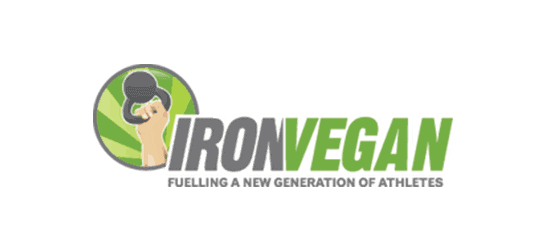 Ironvegan logo arm holding kettle bell grey and green font with tag line fuelling a new generation of vegan athletes