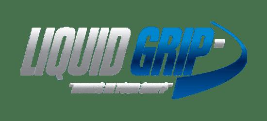 liquid grip logo liquid grip in italic liquid in silver fade grip in blue fade tag line below