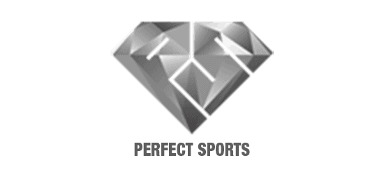 perfect sports logo PS diamond shape with perfect sports below in grey