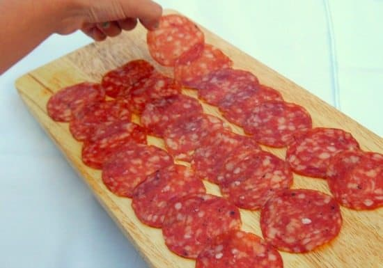 Wild boar salami . Food in Umbria, Italy. Family travel