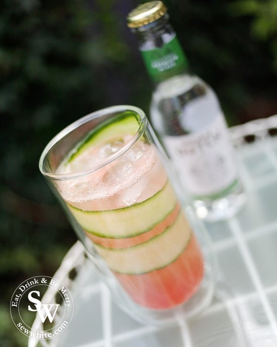 Watermelon red punch topped up with premium mixer from Double Dutch.