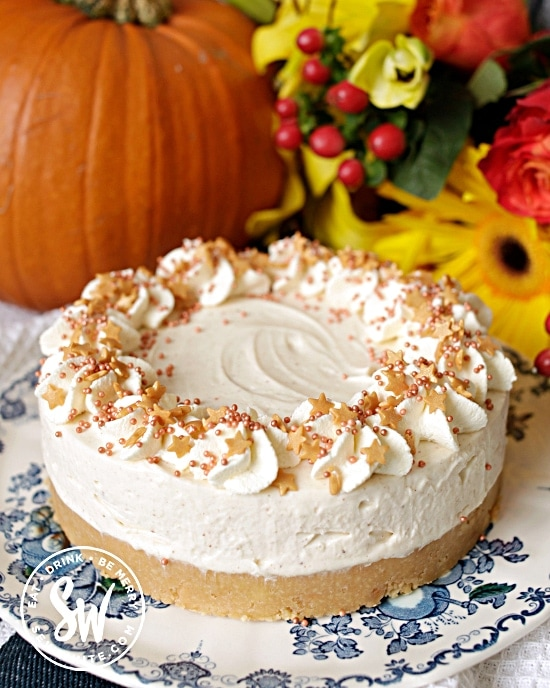Fall cheesecake with pumpkin spice topped with star sprinkles