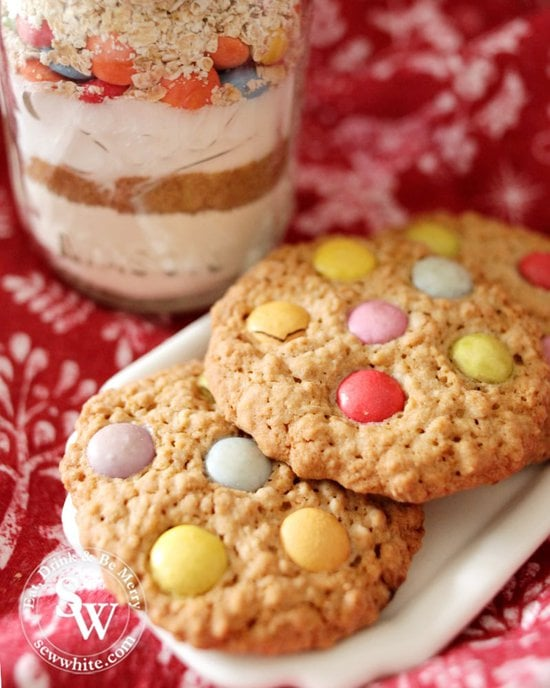 Close up of the Smarties in the cooked cookies from my cookie mix jar gift