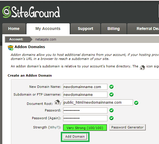 siteground step 4 add your existing domain