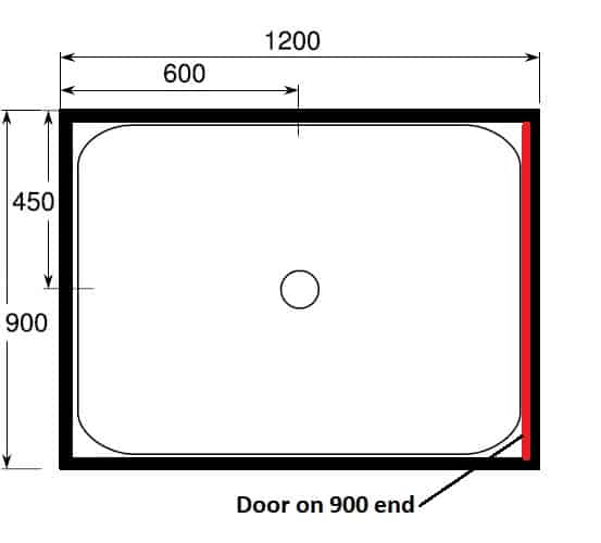 1200 x 900 shower with door at end