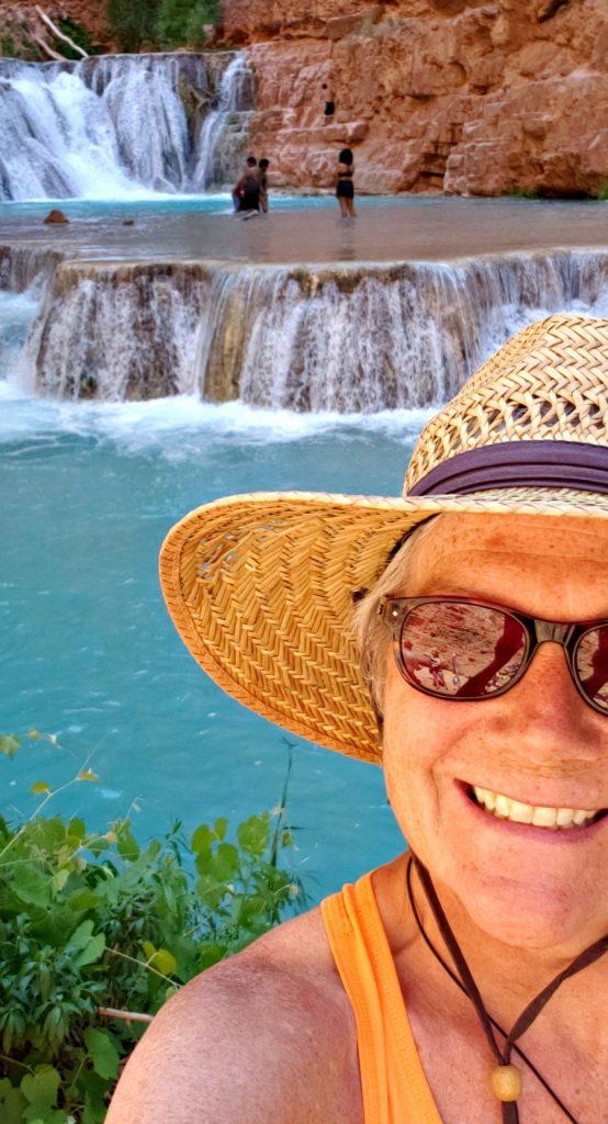 Unstoppable Stacey selfie at Beaver Falls in Havasu Creek