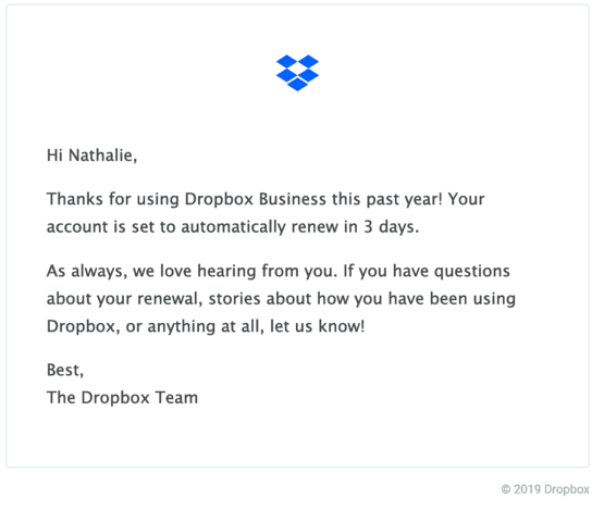 Renewal Reminder Example from Dropbox