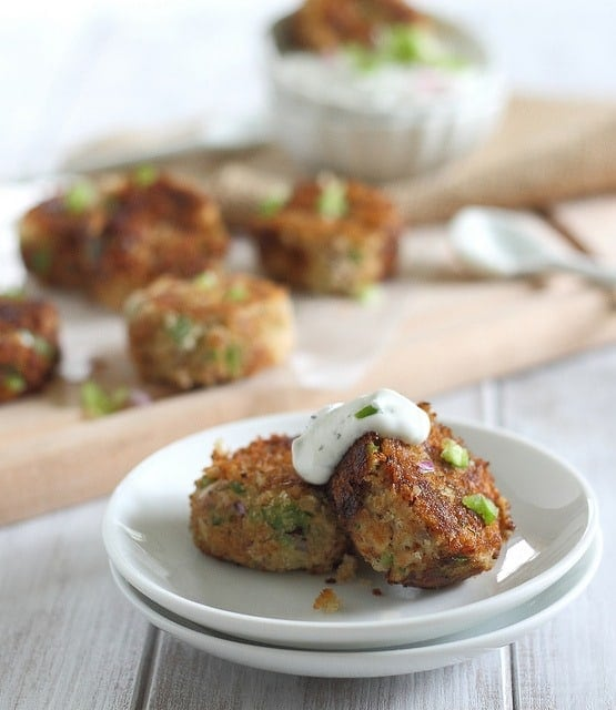 This recipe for crispy salmon cakes use wild canned salmon for an easy appetizer full of flavor and heart healthy nutrition.