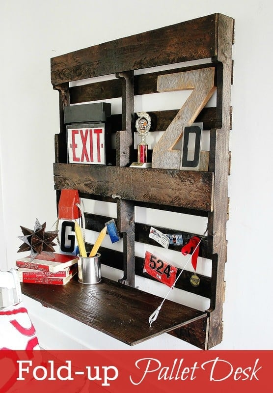 This fold up pallet desk is a space saver and adds a rustic design element to any room.
