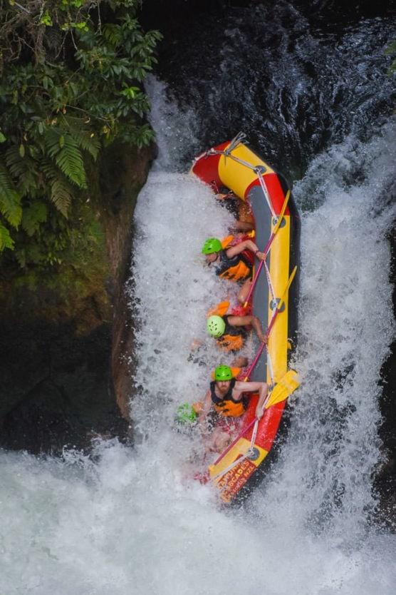 rafting over tutea falls on rotorua rafting trip with kaituna cascades