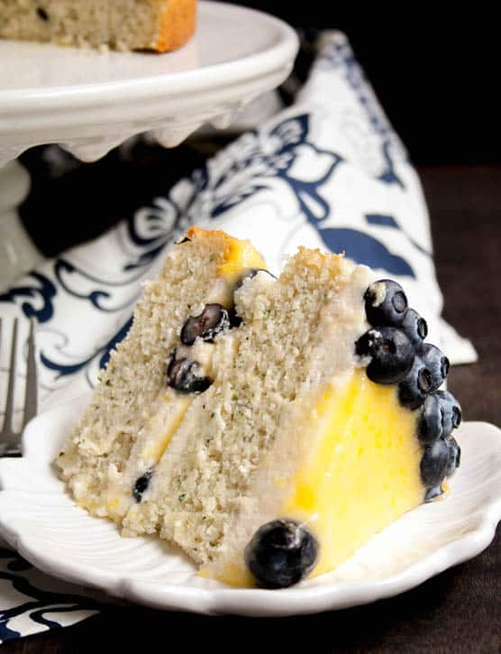 White Zucchini Cake with Whipped Vanilla Frosting, Lemon Curd and Blueberries-8