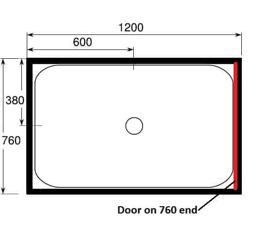 1200 x 760 shower with door at end