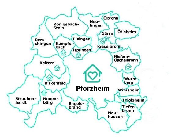 Das Versorgungsgebiet des Pforzheimer Pflegedienstes: Pforzheim und alle Ortsteile wie z.B. Arlinger, Büchenbronn, Haidach, Mäuerach, Eutingen, Würm, Dillweißenstein, Huchenfeld sowie die Enzkreis-Gemeinden Keltern, Neuenbürg, Birkenfeld, Kämpfelbach, Ispringen, Kieselbronn und Niefern-Öschelbronn.
