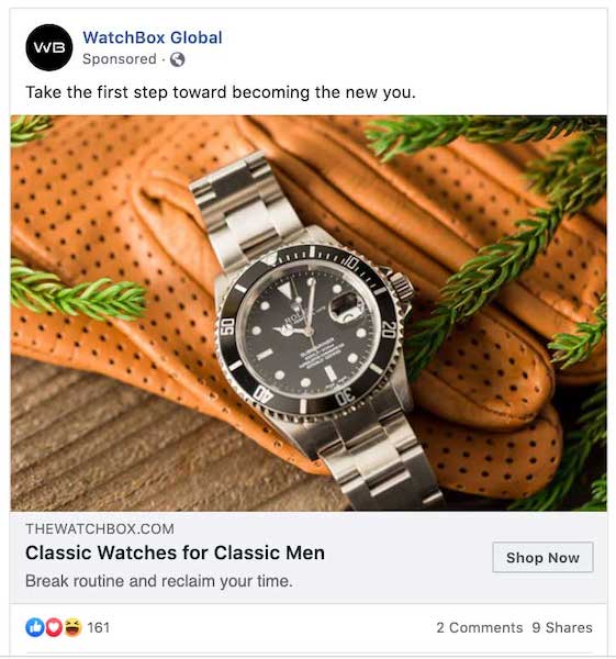 Facebook ecommerce campaign.