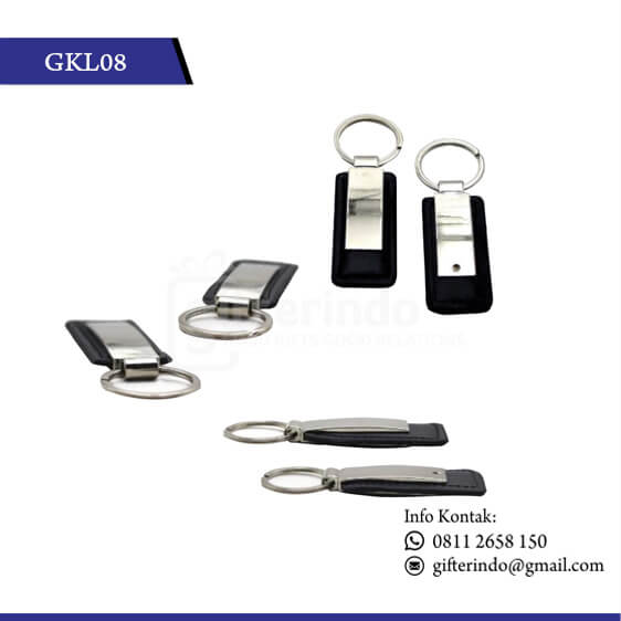 GKL08 Gantungan Kunci Kulit Kombinasi Metal souvenir promosi