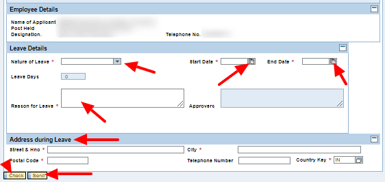 Submit Leave Request in BSNL ERP Portal
