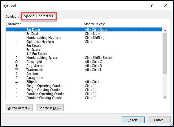 special characters tab
