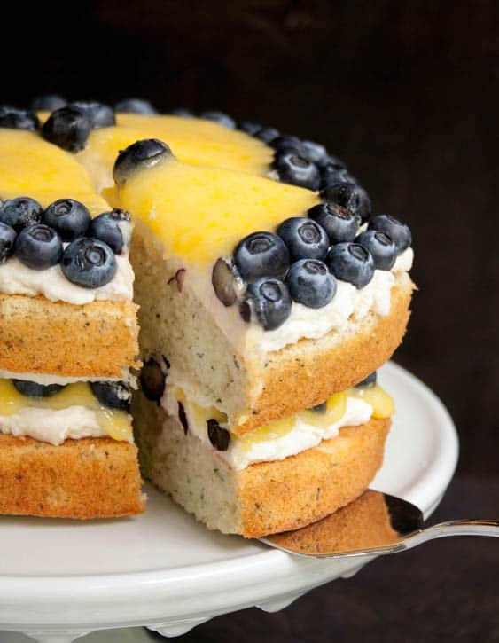 White Zucchini Cake with Whipped Vanilla Frosting, Lemon Curd and Blueberries-11