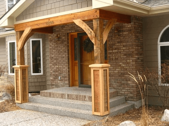BEST PORCH CANOPY DESIGN IDEAS WITH WOOD PORCH PILLARS
