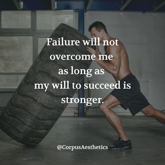 weight training motivational quotes, Failure will not overcome me, a guy is pushing a big tire in the gym