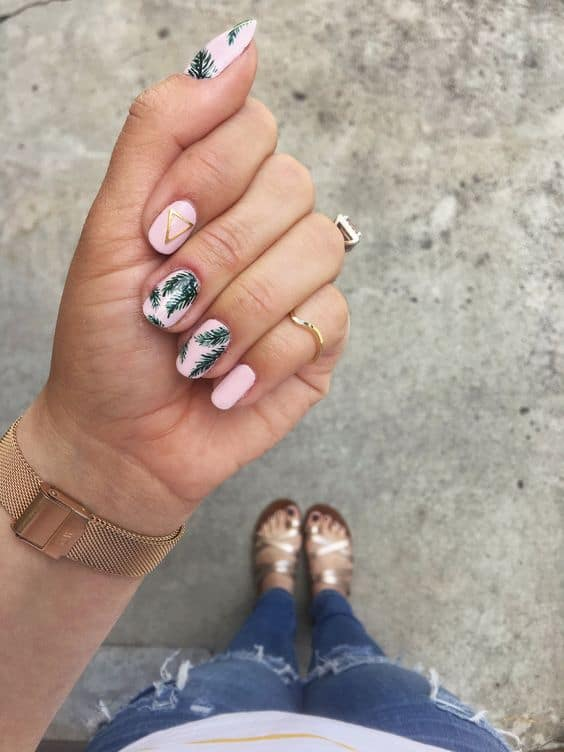 Cute Tropical Palm Leaves Nails For Shorter nails