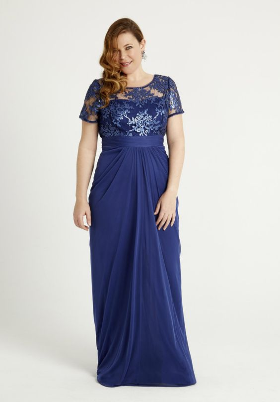 vestidos-para-gorditas-largo-azul-oscuro