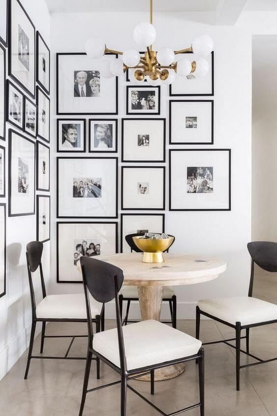 DINING ROOM SMALL SPACE DECOR IDEAS WITH WALL OF FRAMES