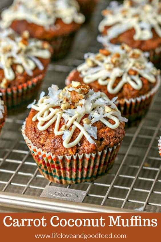 Drizzled with a honey cream cheese glaze, you'll have trouble deciding whether to serve these whole wheat Carrot Coconut Muffins for brunch or for dessert! #muffin #carrotmuffin